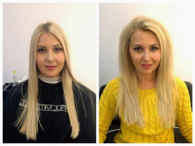 флисинг для волос - до и после