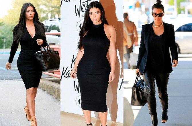 Фото 2. Ким Кардашьян - в черных платьях и в черном костюме.