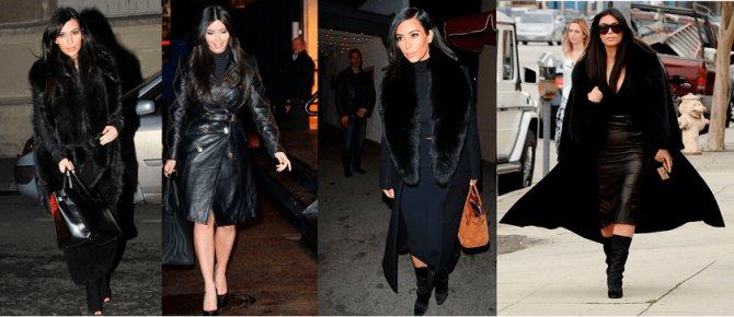 Фото 3. Ким Кардашьян - в черных пальто.