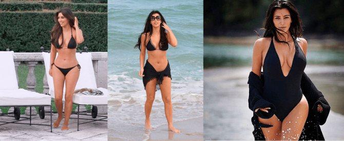 Фото 4. Ким Кардашьян - в черных купальниках.
