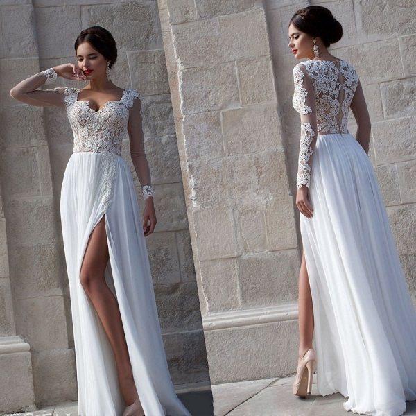 Фото белого вечернего платья для невесты на свадьбу в 2020 году