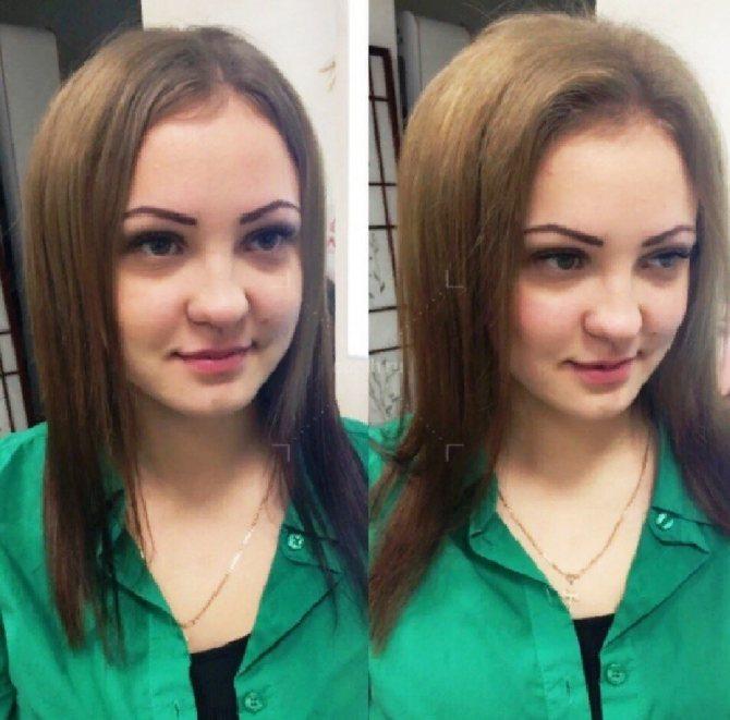Фото до и после прикорневой химической завивки