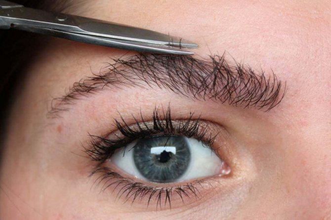фото - ножницы подстригают брови