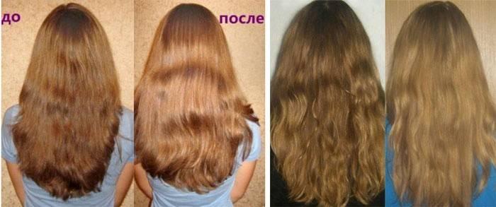 Фото результатов осветления волос корицей