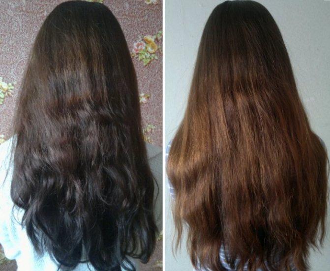 Фото волос до и после применения кокосового масла