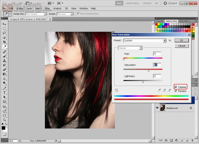 фотошоп цвет волос
