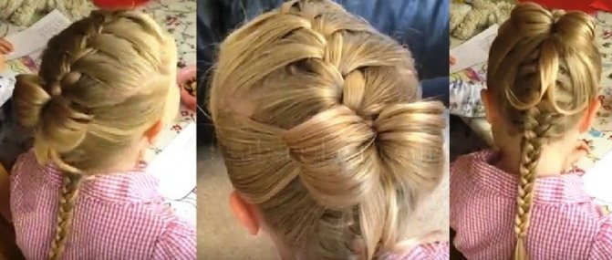 Французская коса с бабочкой из волос