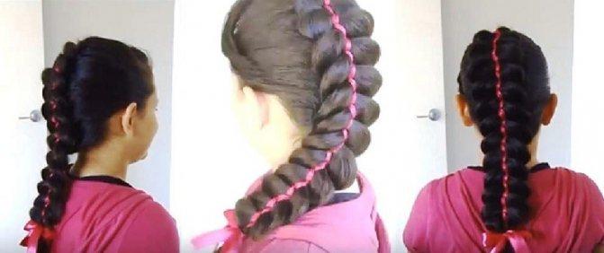 Французская пятипрядочная коса с двумя лентами