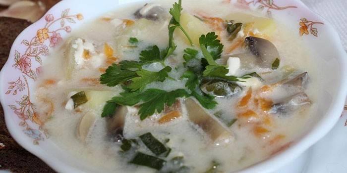 Гибной суп с сыром