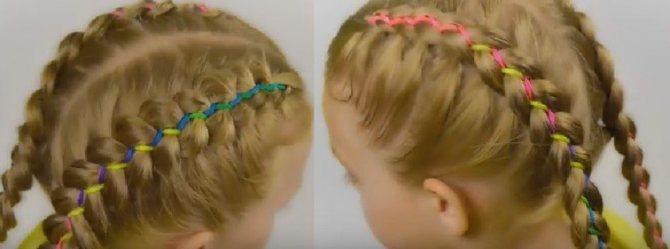 Голландская коса с лентой