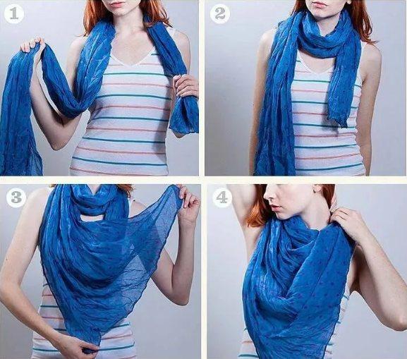 голубой шарф как завязать на шее