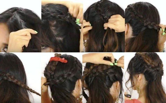 Греческая коса с челкой по бокам, фото поэтапного выполнения