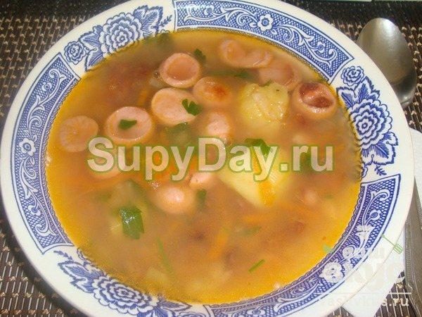 Итальянский суп с сосисками и консервированной фасолью