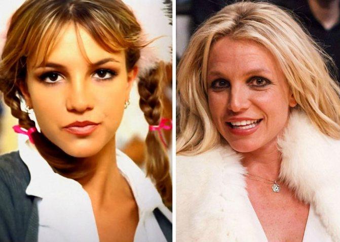 Известная британская певица Бритни Спирс в молодости 15-20 лет назад и сегодня фото