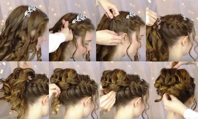 Изящная французская коса с пучком и венком, пошагово фото