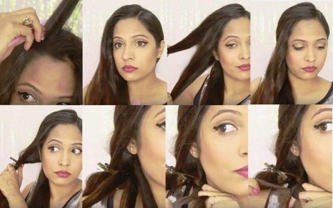 Изысканная объемная коса из шести прядей, этапы выполнения часть 1