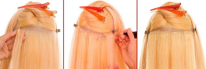 как делается ленточное наращивание волос One Touch
