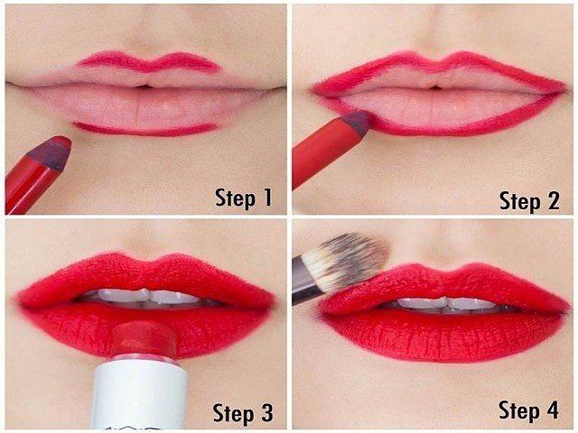 как красить губы матовой красной помадой