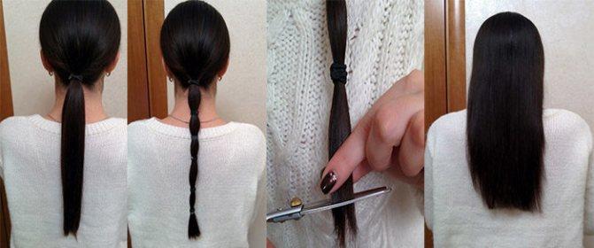 Как подстричь волосы собрав их в хвост