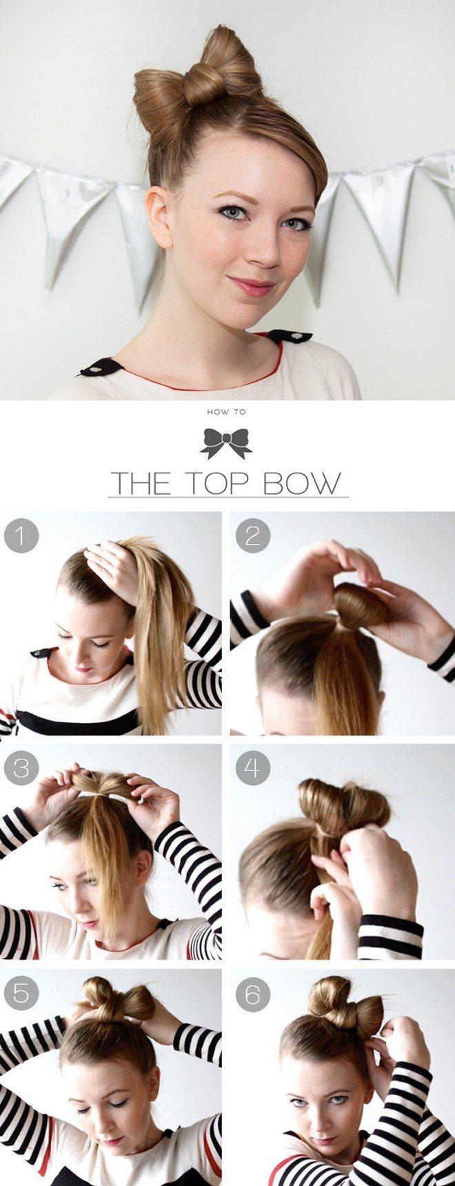 Как сделать бант из волос: пошаговое фото