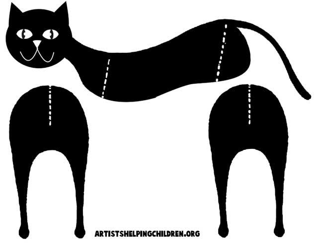 как сделать черную кошку из бумаги