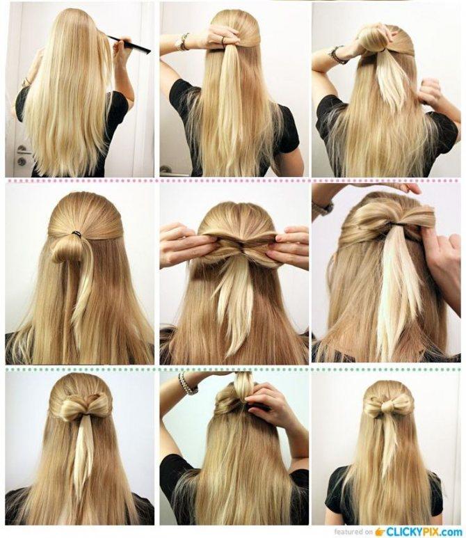Как сделать прическу в бантом и распущенными волосами: пошаговое фото
