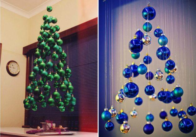 Как украсить дом к Новому году: ёлки из шариков
