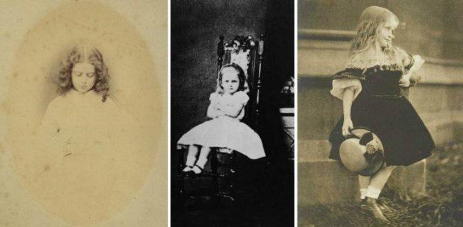 Кандидаты на роль образца для Алисы: Эдит Мэри Лидделл, Мэри Хилтон Бэдкок и Беатрис Хенли, фото Льюиса Кэрролла
