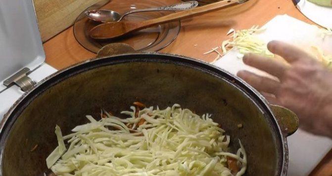 Капусту мелко нашинковать и добавить к мясу