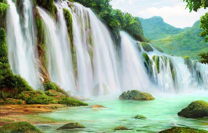 картина с водопадом символ богатства в фэн-шуй