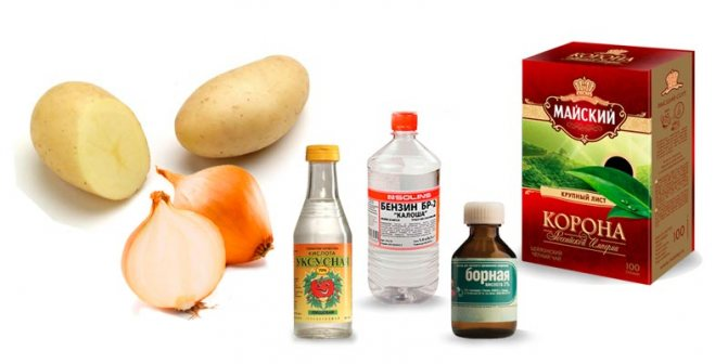 картофель-лук-чай-борная-кислота-бензин