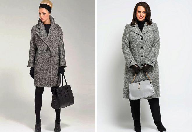 классическое серое пальто