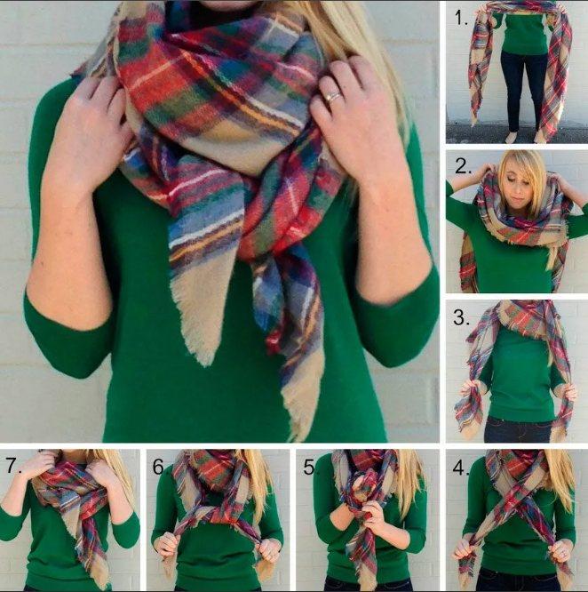 клетчатый шарф как завязать