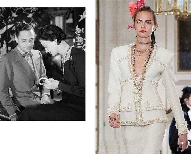 Коко Шанель и итальянский ювелир Фулько ди Вердура, 1937 год; деталь показа Chanel Métiers d'Art 2016/17