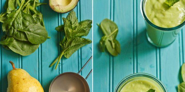 Коктейль для похудения с авокадо, грушей и шпинатом