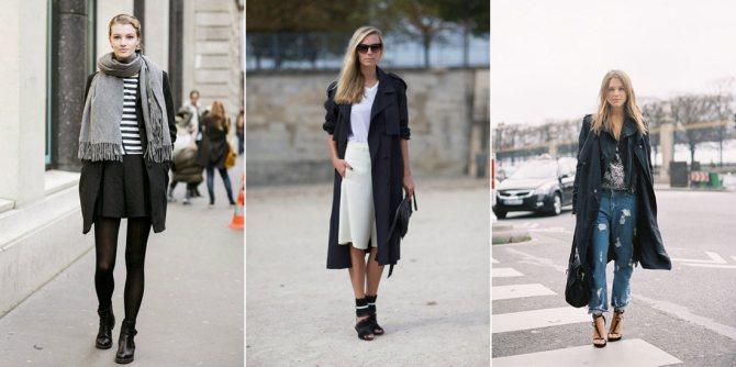 комбинации одежды с черным плащом