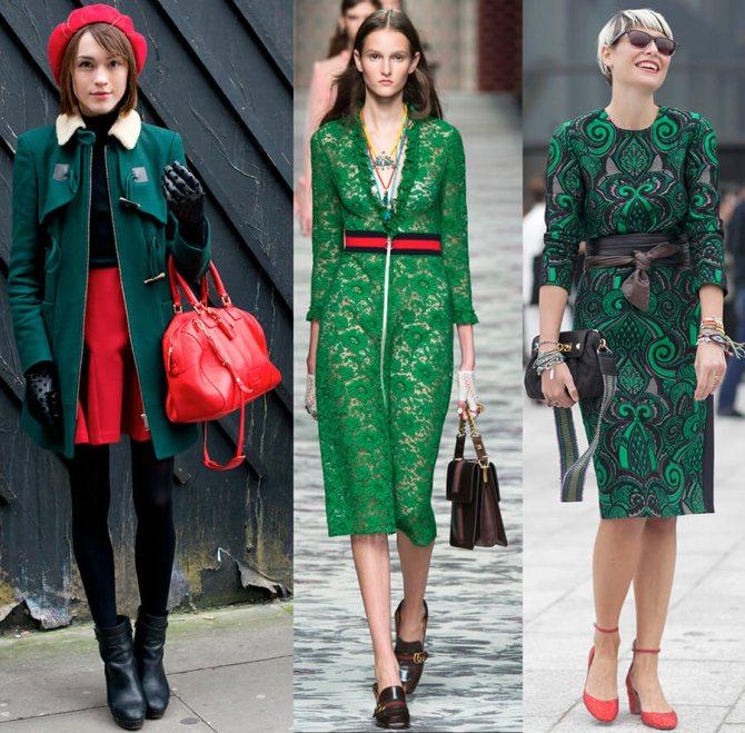 комбинация зеленого с красным в одежде