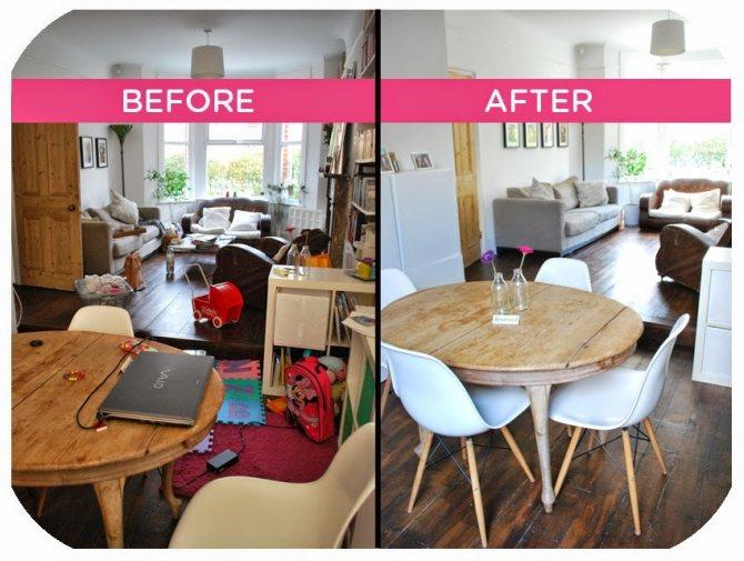 Комната в доме до уборки и после перед пасхой
