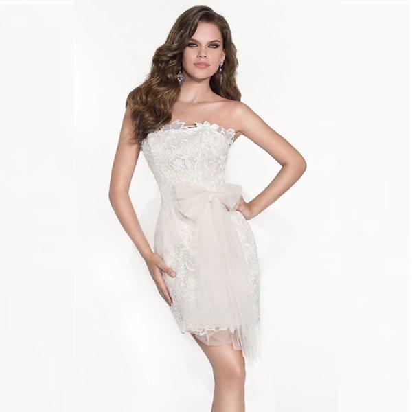 Короткое коктейлное платье для невесты