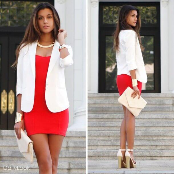 короткое красное платье с белым жакетом