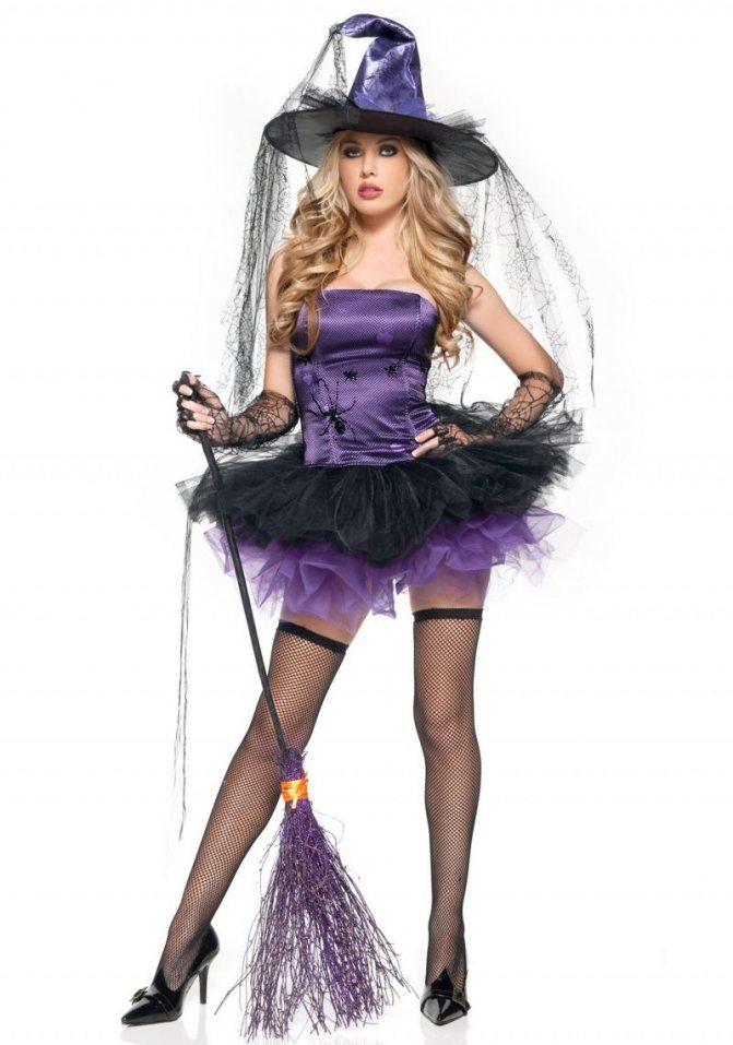 Короткое платье для Ведьмы на Хэллоуин