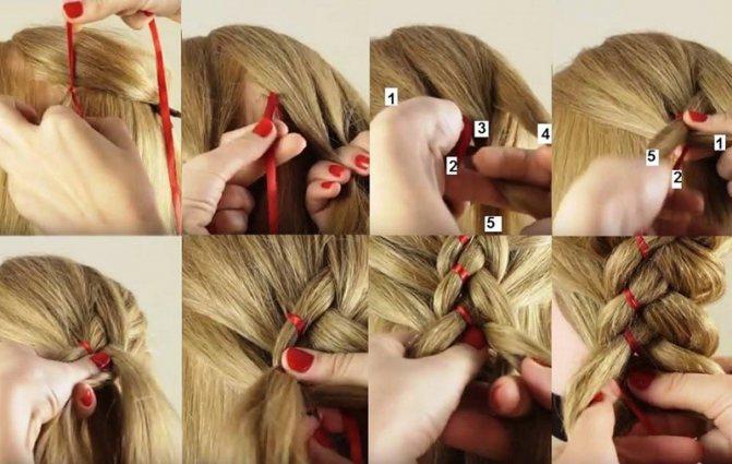 Коса из 5 прядей с лентой: выполнение пошагово