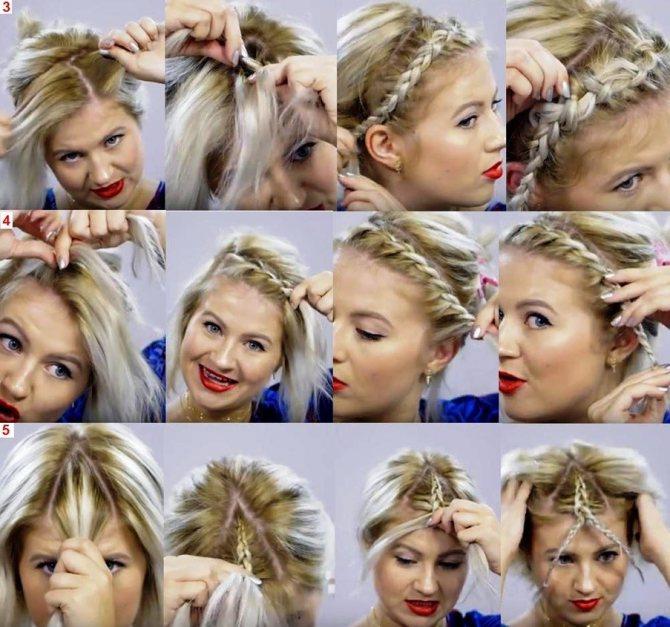 Коса ободок на короткие волосы: 3, 4 и 5 способы плетения