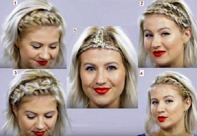 Коса ободок на короткие волосы (5 идей)
