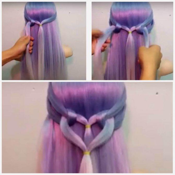 Коса сердечками из резинок пошагово