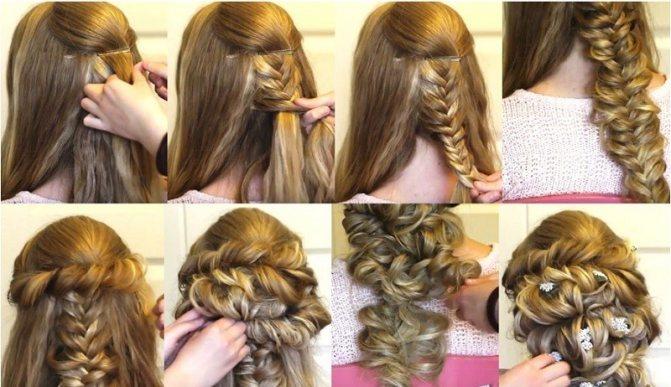 Коса, украшенная жгутами и мелкими цветами, выполнение поэтапно