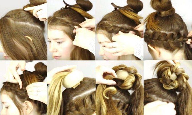 Коса в виде короны и витой пучок, фото выполнения пошагово