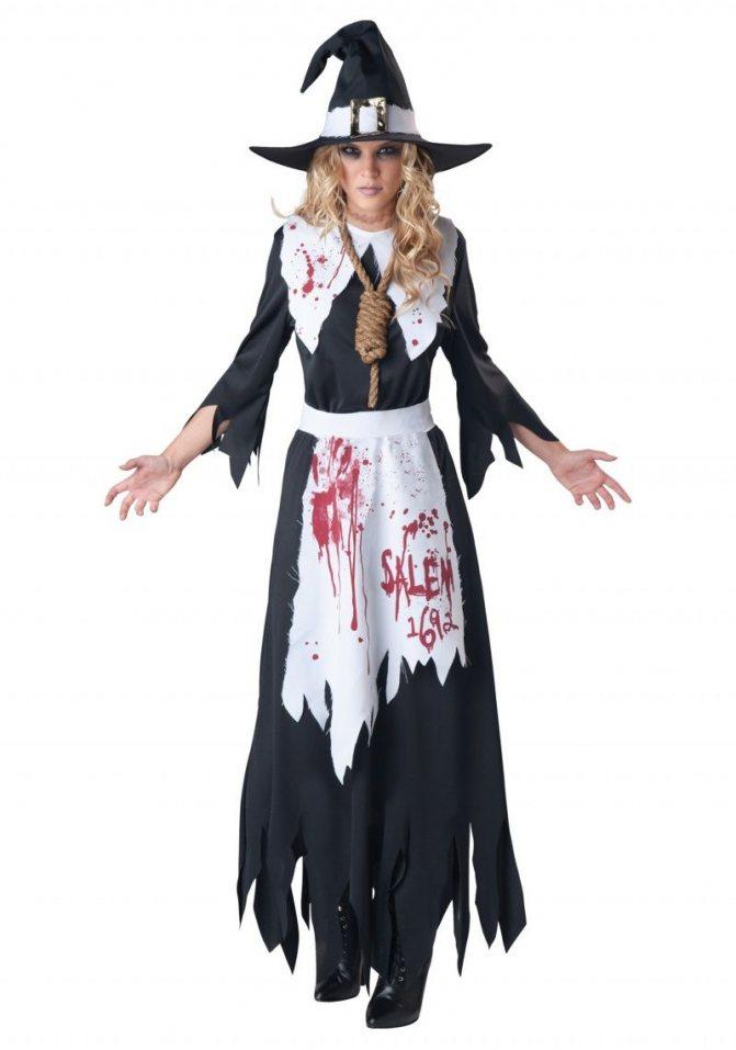 Костюм мертвой Ведьмы с веревкой на шее