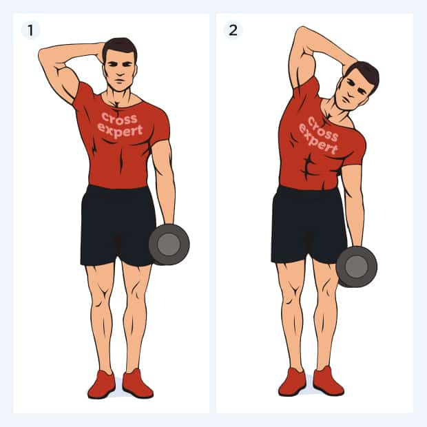 косые мышцы пресса - наклоны с гантелей