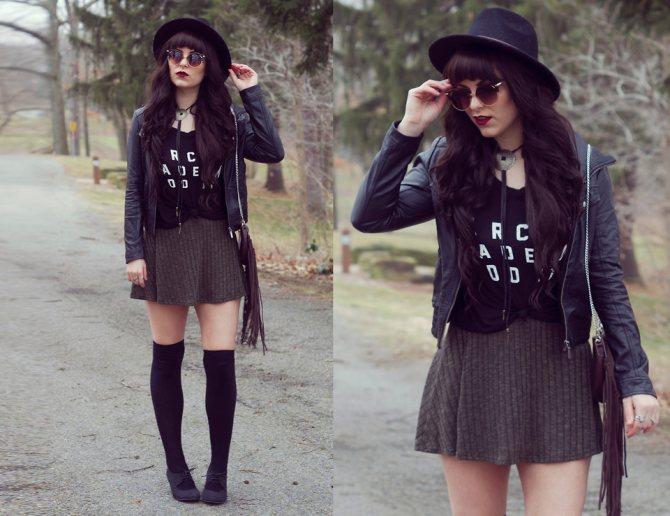 кожаная куртка, юбка колокол, длинные носки